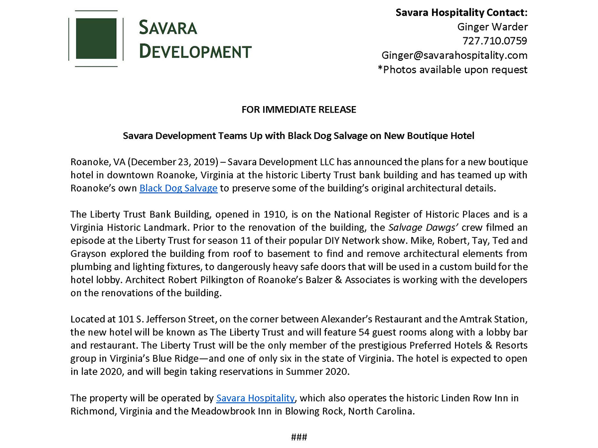 Savara Development Teams Up With Black Dog Salvage on New Boutique Hotel Press Release - Smaller